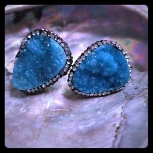 Aquamarine drutzy & Swarvarski crystal earrings